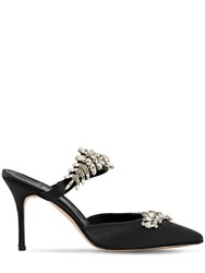 Manolo Blahnik 90Mm Lurum Swarovski Satin Mules Black