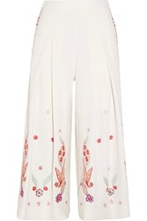 Temperley London Lysander Cropped Embroidered Crepe Wide Leg Pants White