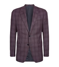 Armani Collezioni Wool Check Jacket Male Burgundy