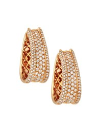 Diana M. Jewels 18K Multi Row Diamond Hoop Earrings