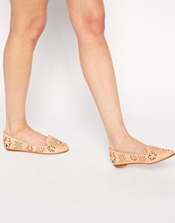 Asos Lark Lazer Cut Slipper Ballets Peach