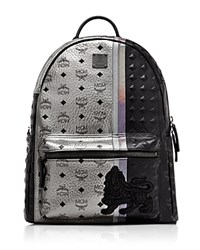 Mcm Munich Lion Series Visetos Metallic Backpack Silver