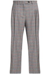 Stella Jean Checked Wool Blend Straight Leg Pants Gray