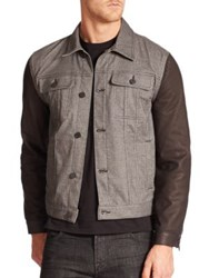 7 For All Mankind Contrast Sleeve Trucker Jacket Grey