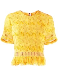 Ermanno Scervino Fringed Crop Top Yellow