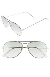 Sam Edelman Women's Circus By 56Mm Aviator Sunglasses Silver Green Lens Silver Green Lens