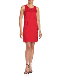 Kensie Solid Sleeveless Dress Red
