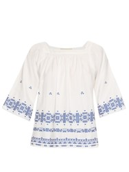 Vanessa Bruno Dalma Square Neck Embroidered Top White Multi