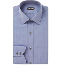 Tom Ford Blue Slim Fit End On End Cotton Shirt Blue