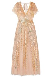 Temperley London Dusk Sequined Tulle Gown Baby Pink