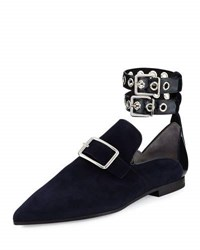 Robert Clergerie Lolli Suede Ankle Strap Loafer Black