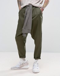 Asos Drop Crotch Trousers With Tie Waist In Khaki Burnt Olive Green