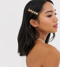 Orelia Tortoishell Resin Faux Pearl Embellished Hair Clip Brown