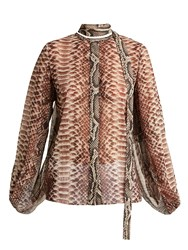 Elie Saab Python Print Slit Sleeve Blouse Animal