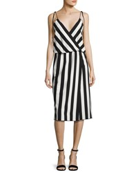 Marc Jacobs Striped Crepe Slip Dress Black White Black White