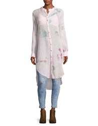 Free People Happiest Morning Button Front Tunic Ivory Combo