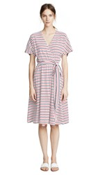 Mds Stripes Rose Wrap Dress Navy Coral Stripe