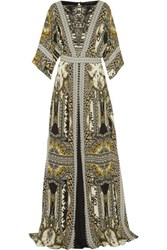 Etro Embellished Leather Trimmed Printed Silk Chiffon Maxi Dress Multi