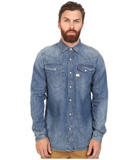 G Star Tacoma Long Sleeve Shirt In Lightweight Craser Denim Vintage Medium Aged Men's Clothing Blue