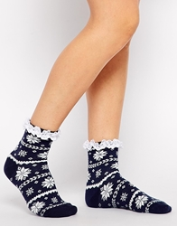 Asos Fair Isle Sock With Lace Trim Navy