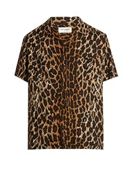 Saint Laurent Short Sleeved Leopard Print Twill Shirt Brown Multi