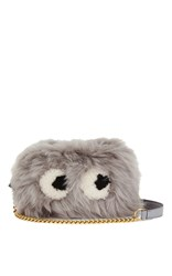 Anya Hindmarch Crossbody Mini Eyes In Light Slate Shearling Light Grey