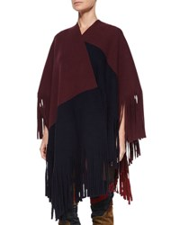Burberry Colorblock Poncho W Fringe Trim Deep Claret