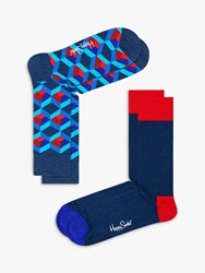 Happy Socks Optic Square One Size Pack Of 2 Nautical Blue