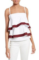 Tory Burch Women's Sage Flounced And Tiered Tank Top