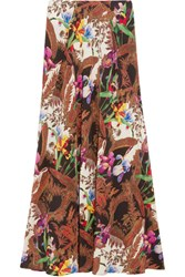 Etro Printed Silk Crepe De Chine Maxi Skirt Brown
