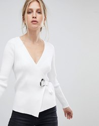 Morgan Knitted Top With Hardwear Detail White