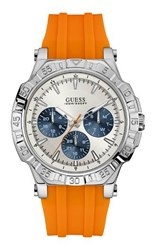 Guess W0966g1 Mens Silicone Strap Sports Watch Orange