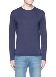 Isaia Silk Cotton Blend T Shirt Blue