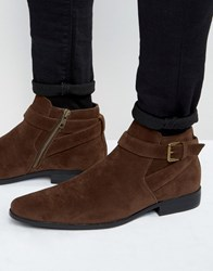 Asos Chelsea Boots In Brown With Buckle Strap Brown