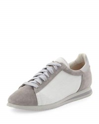 Brunello Cucinelli Suede And Canvas Low Top Sneaker Beige