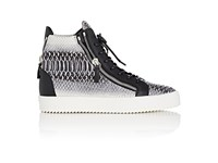 Giuseppe Zanotti Men's Stamped Leather Double Zip High Top Sneakers Grey