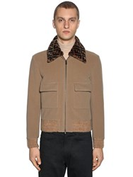 Fendi Wool Bomber Jacket W Logo Fur Collar Beige