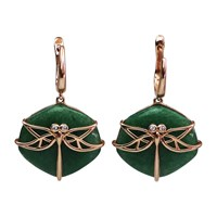 Bellus Domina Aventurine Dragonfly Earrings Green