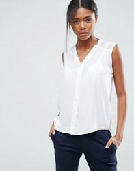 Asos Sleeveless Blouse With V Neck And Notches White