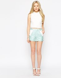 Colorblock Color Block Tailored Shorts In Pastel Jacquard Mix Blue