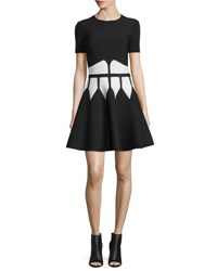 Alexander Mcqueen Jewel Neck Dress With Graphic Flame Waist Black White