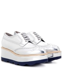Prada Metallic Leather Platform Brogues Silver