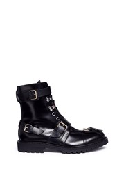 Buckle Strap Leather Combat Boots Black