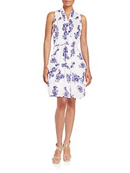 Collective Concepts Floral Print Wrap Dress White Multi