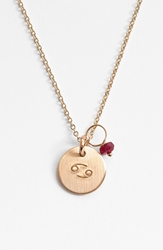 Nashelle 14K Gold Fill And Semiprecious Birthstone Zodiac Mini Disc Necklace 14K Gold Fill Can