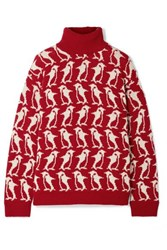 Moncler Genius Grenoble Wool And Cashmere Blend Intarsia Turtleneck Sweater Red