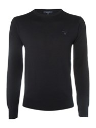 Gant Lightweight Cotton Crew Neck Jumper Navy