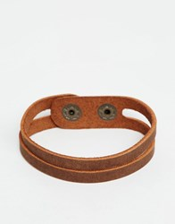 Asos Cut Out Leather Bracelet In Brown Brown
