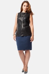 Mynt 1792 Faux Leather Front Shell Plus Size Black