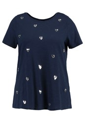 Evans Sequin Heart Print Tshirt Navy Dark Blue